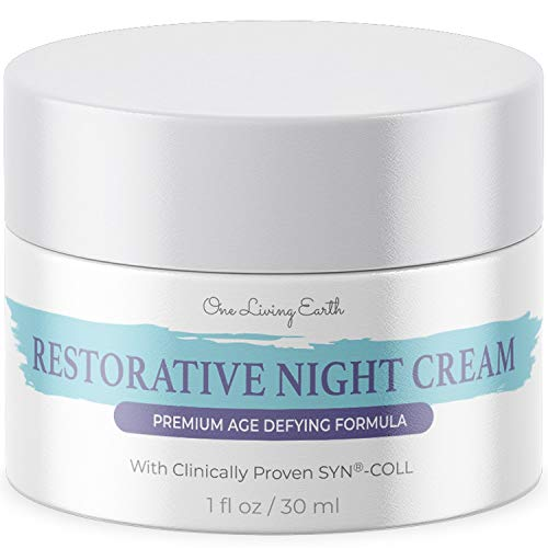 One Living Earth Restorative Night Cream for Face – Clinically Proven SYN-COLL Collagen-Stimulating Peptide – Anti Aging Formula – Skin Renewing Night Cream – Wrinkle Cream for Women and Men – 1 fl oz