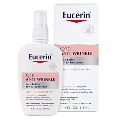 Eucerin Q10 Anti-Wrinkle Face Lotion with SPF 15 – Fragrance-Free, Moisturizes for Softer Smoother Skin – 4 fl. oz Bottle