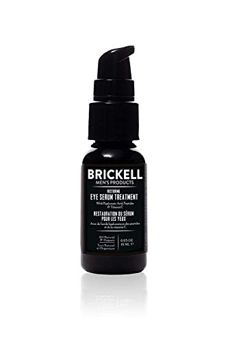Brickell Men's Restoring Eye Serum Treatment for Men, Natural and Organic Eye Serum to Firm Wrinkles, Reduce Dark Circles, and Promote Youthful Skin, 0.65 Ounce, Unscented