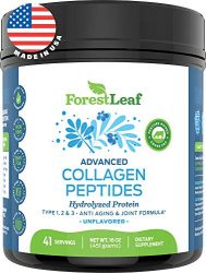 Advanced Hydrolyzed Collagen Peptides – Unflavored Protein Powder – Mixes Into Drinks and Food – Pasture Raised, Grass Fed – for Paleo and Keto; Joints and Bones – 41 Servings Collegen