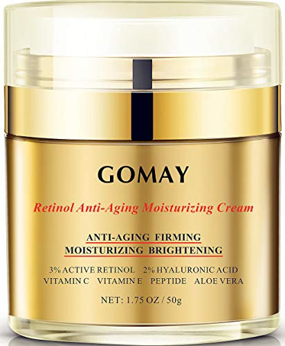Go May Face Moisturizer for Women, Retinol Moisturizing Night Cream, Natural Anti-Aging Cream with Hyaluronic Acid and Vitamin C, Reduce Wrinkles, Firming, Brighten