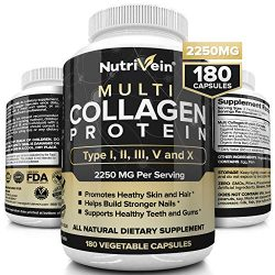 Nutrivein Multi Collagen Pills 2250mg – 180 Collagen Capsules – Type I, II, III, V, X – Anti-Aging, Healthy Joints, Hair, Skin, Bones, Nails, Hydrolyzed Protein Collagen Peptides for Woman and Men