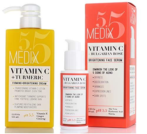 Medix 5.5 Vitamin C Cream & Vitamin C Serum Two Piece Set. Anti-Aging Vitamin C Set with Vitamin E & Turmeric for Brightening, Dark Spots, Discoloration, and Sun Damaged Skin. 15oz Cream + 2oz Serum.