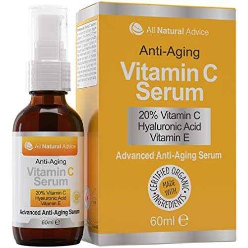 20% Vitamin C Serum Double the size – 2oz Bottle – Made in Canada All Natural 20% Vitamin C + Hyaluronic Acid + Vitamin E-Reverse Skin Aging & Wrinkles and look younger Certified Organic Scent Free Excellent for Sensitive Skin! 100% Guaranteed