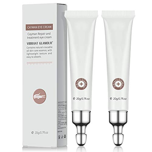 2 PCS Eye Cream for Dark Circles and Puffiness Under Eye Bags Fine Lines Wrinkles, Ms.DEAR Anti Aging Under Eye Treatment with Natural Crocodile Oil for Women 0.7Oz