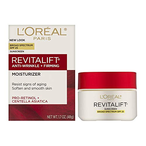 Face Moisturizer with SPF 25 by L'Oreal Paris, Revitalift Anti-Aging Face Moisturizer with Pro-Retinol and Centella Asiatica, Paraben Free, Suitable for Sensitive Skin, 1.7 oz.
