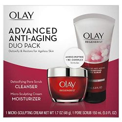 Face Wash by Olay Regenerist Advanced Anti-Aging Pore Scrub Cleanser (5.0 Oz) and Micro-Sculpting Face Moisturizer Cream (1.7 Oz) Skin Care Duo Pack, Total 6.7 Ounces Packaging may Vary