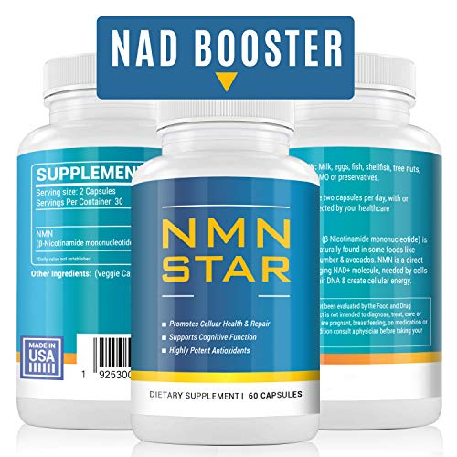 Ultra High Purity NMN Nicotinamide Mononucleotide Supplement, 300mg Capsule, Stabilized Form, Naturally Boost NAD+ Levels for Cellular Repair, Energy & Anti Aging, 60 Count