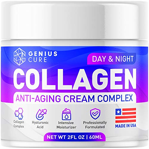 GENIUS Collagen Cream – Smart Anti Aging Face Moisturizer – Day & Night Wrinkle Cream – Hyaluronic Acid & Vitamin E – Cleanse, Moisturize, and Protect Your Skin 2oz