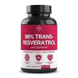 New Ultra Therapeutic Resveratrol Supplement – 98% Trans Resveratrol Plus BioPerine – Antioxidant Supplement for Anti Aging and Longevity – 60 Capsule Reservatrol Supplement
