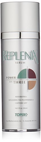 Replenix Power of Three Anti Aging Face Serum with High Potency Antioxidants, Caffeine and Resveratrol, for Soothing Sensitive, Irritated Skin, 1 oz