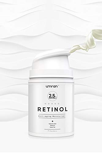 UMRAN Premium Retinol Cream, Anti-Aging Moisturizer Cream 2.5% for Face and Eye Care, Anti-Wrinkle Essence with Hyaluronic Acid, Day and Night Cream, Vitamin E and Green Tea, 50ml, 1.7 Fl.Oz