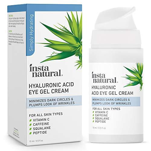 Hyaluronic Acid Eye Gel Cream – Hydrating Dark Circle, Eye Bags Remover & Puffy Eyes Moisturizer – Crows Feet, Lines & Wrinkles, Lifting & Firming Brightening Treatment – Vitamin C & Caffeine – 0.5 oz