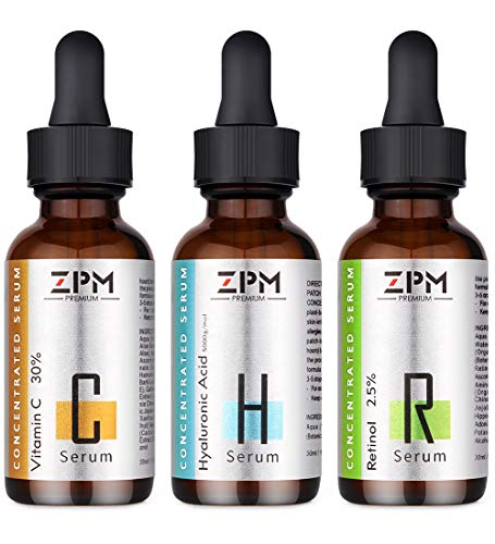 3 Pack Serums Kit for Face with Vitamin C Serum, Retinol Serum, Hyaluronic Acid Serum -Best Skin Care Face Serum to Anti-Aging & Anti-Wrinkle and Brightening- Perfect Gifts for Mother Woman Girlfriend