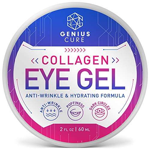 Collagen Eye Gel, Under Eye Gel Treatment for Reducing Dark Circles, Moisturizing, Targets Wrinkles Anti-Aging, Fine Lines, Eye Bags, Puffiness for Women Men 2oz
