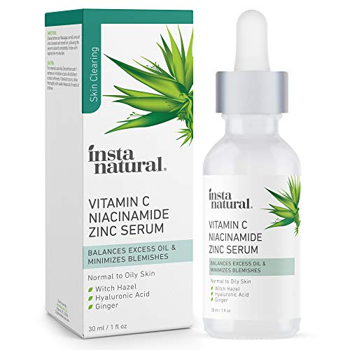 Vitamin C Face Serum with Niacinamide and Zinc – Acne Treatment & Pore Minimizer – Clarifying Blemish Remover & Breakout Reducer – Oil Control for Oily Skin – Anti Aging & Wrinkle Facial Skin Care