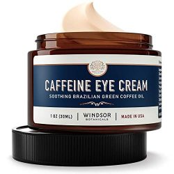 Anti-Aging Caffeine Eye Cream – Windsor Botanicals Age-Defying AHA Formula – Moisturizes, Reduces Wrinkles, Dark Circles and Puffiness – With Soothing 100 Percent Pure Brazilian Green Coffee Oil – 1 oz