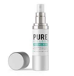 Pure Biology Premium Total Eye Cream Serum – Anti Aging Vitamin C, E & Hyaluronic Acid Reduce Dark Circles, Puffiness, Under Eye Bags, Wrinkles & Fine Lines for Men & Women (0.5 oz)