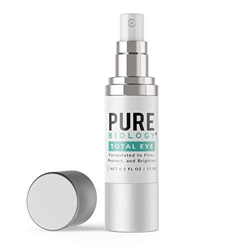 Pure Biology Premium Total Eye Cream Serum – Anti Aging Vitamin C, E & Hyaluronic Acid Reduce Dark Circles, Puffiness, Under Eye Bags, Wrinkles & Fine Lines for Men & Women (0.5 oz)