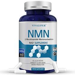 NMN Supplement, 500MG Nicotinamide Mononucleotide Capsules for Supports Anti-Aging, Longevity and Energy, Naturally Boost NAD+ Levels (NMN 60PCS)