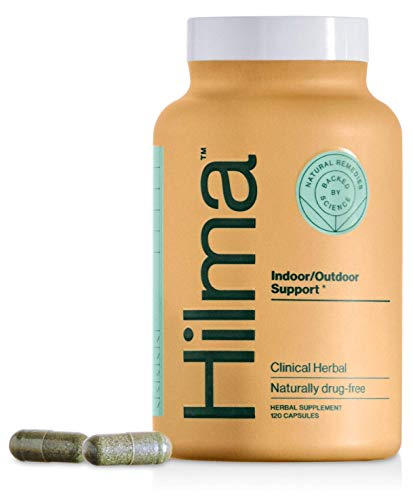 Natural Indoor/Outdoor Support by Hilma – Clinically Proven Nettles, Spirulina & Tinospora – Occasional Allergy & Sinus Support – Doctor Formulated + Organic Ingredients – Non-Drowsy (120 Capsules)