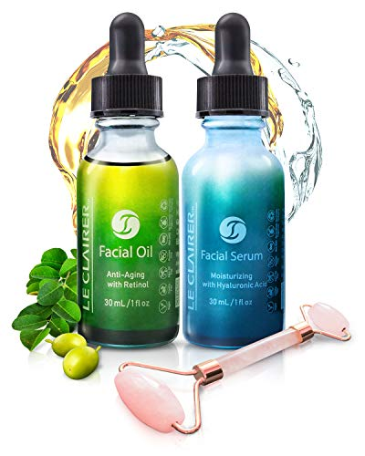 Le Clairer Beauty Bundle of 3 Anti Aging Face Oil with Retinol + Hyaluronic Acid Moisturizing Facial Serum + Rose Quartz Roller, 100% Vegan and Cruelty-Free with Pure Essential Oils for All Skin Types