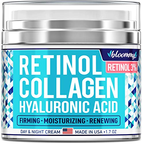 Collagen & Retinol Cream for Face with Hyaluronic Acid – Collagen Anti Aging Cream – Retinol Moisturizer for Face – Made in USA – Anti Wrinkle Facial Cream – Day & Night Moisturizer for Face