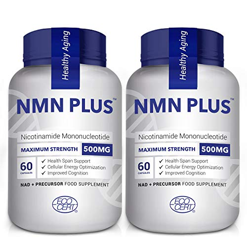 Maximum Strength NMN Capsules, 500mg, Naturally Boost NAD+ Levels for Mental Performance & Anti Aging, 60 Capsules Nicotinamide Mononucleotide Supplement(120 Count(Pack of 2))