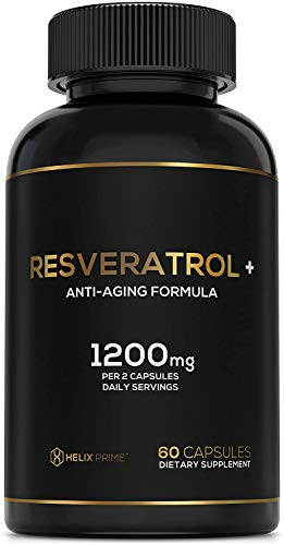 Resveratrol Supplement with Trans Resveratrol HELIX PRIME 1200mg Per Serving in 60 Capsules Vegetarian Antioxidant Promotes Anti Aging