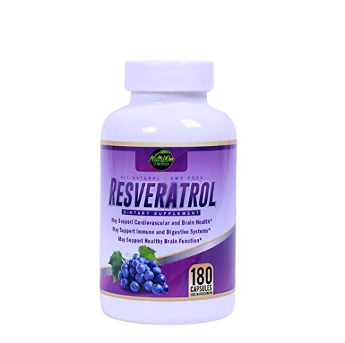 Resveratrol Supplement for Whole Health, 90 Day Supply Antioxidant Capsules Resveratrol 1000mg for Brain Health and Cardiovascular Support, Maximum Strength Resveratrol Anti-Aging Supplement