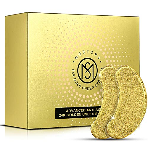 24K Gold Under Eye Mask – Eye Patches Treatment for Puffy Eyes Pure Collagen Golden Anti-aging Dark Circles Eye Bags Wrinkles Pads Masks Cooling Eye Spa Hydrogel Undereye patch – 20 Pairs (GOLD)