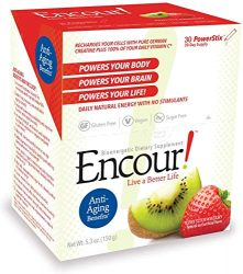 Encour! Bioenergetic Anti-Aging Supplement | Single-Serve Drink Powder Packs | 30 Day Supply (Kiwi Strawberry)