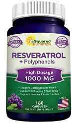 100% Natural Resveratrol with Red Wine Extract – 180 Capsules – Trans Resveratrol Antioxidant Supplement Pills for Pure Weight Loss & Heart Health – Extra Strength Trans-Resveratrol for Anti Aging