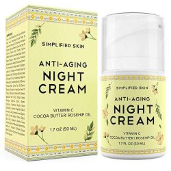 Anti-Aging Night Cream for Face – Collagen Boost, Fine Lines + Wrinkle. Facial Vitamin C Moisturizer with Cocoa Butter + Organic Rosehip Oil. Best Natural Cream for Women + Men by Simplified Skin 1.7 oz
