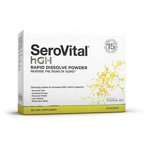 SeroVital Rapid Dissolve Powder, 30 Ct, Tropical Mix – Anti Aging Supplement Boosts Critical Peptide Associated with Increased Energy, Smoother Skin