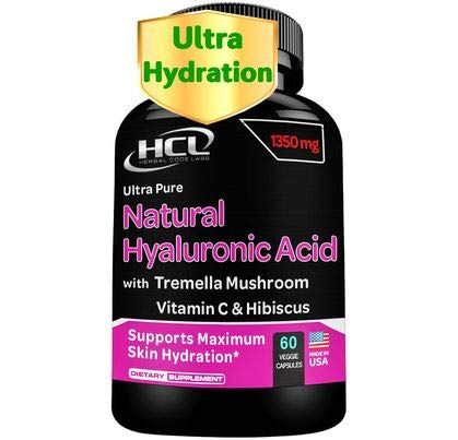 Natural Hyaluronic Acid Supplement 5X Stronger Hydration Pills from Pure Tremella Mushroom with Vitamin C & Hibiscus – Anti-Aging Skin Supplement Anti Wrinkle Capsules