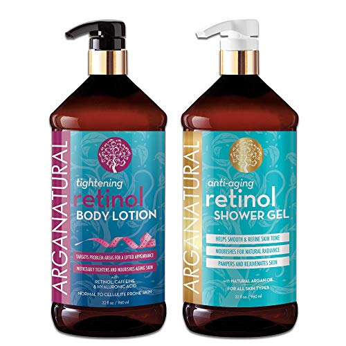 Arganatural Bundle Pack with Tightening Body Lotion and Anti-Aging Retinol Shower Gel (32 Ounces/960 Milliliters)