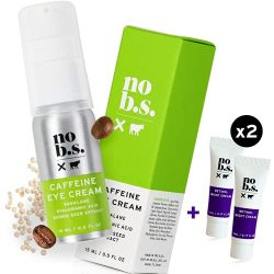 No B.S. Caffeine Eye Cream anti aging bundle with Two Retinol Deluxe Minis. Under Eye Cream for Dark Circles and Puffiness. Includes Retinol Eye Cream for Wrinkles.