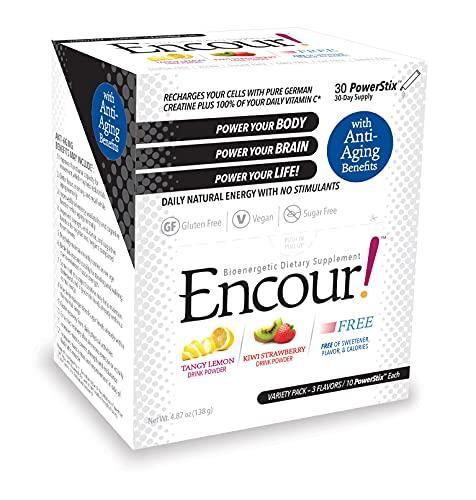 Encour! Bioenergetic Anti-Aging Supplement | Variety Pack 3 Flavors | Drink Powder Packs