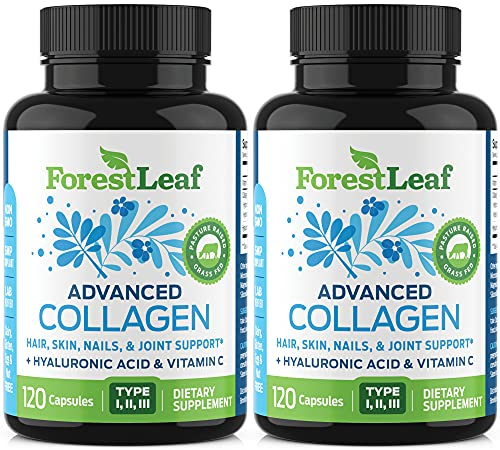 Advanced Collagen Supplement, Type 1, 2 and 3 with Hyaluronic Acid and Vitamin C – Anti Aging Joint Formula – Boosts Hair, Nails and Skin Health – 240 Capsules – by ForestLeaf