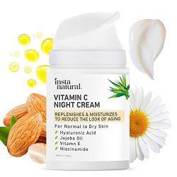 InstaNatural Brightening Face Moisturizer – Vitamin C Anti Aging Night Cream & Facial Moisturizer Vitamin E, Hyaluronic Acid & Niacinamide Face Lotion, Collagen Lotion Anti Wrinkle Facial Cream 1.7 oz