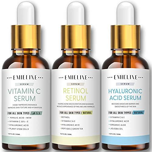 Emieline Anti Aging Serum, Vitamin C Serum, Retinol Serum, Hyaluronic Acid Serum, Face Serum Set Natural Organic with Apply to Brightening, Anti Wrinkle, Dark Spot Corrector for Face, Moisturizing