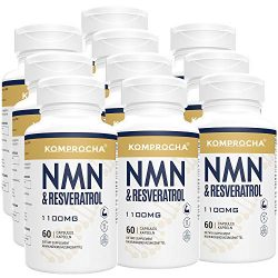 NMN + Trans-Resveratrol 99% Purity+ Black Pepper 1100mg, for Max Absorption, Powerful Antioxidant & Anti-Aging Supplements for Heart, Immune & Skin Health (600 Capsules (Pack of 10))